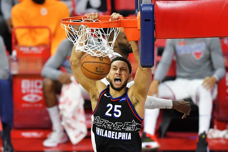 Ben Simmons #25 of the Philadelphia 76ers dunks the ball against the New York Knicks in the fourth quarter at Wells Fargo Center on March 16, 2021.