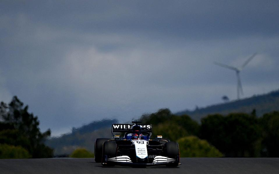 Williams' British driver George Russell drives during the first practice session of the Portuguese Formula One Grand Prix at the Algarve International Circuit in Portimao on April 30, 202 - AFP via Getty Images)/GABRIEL BOUYS