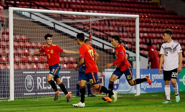 Soccer Football - UEFA European Under-17 Championship - Group D - Spain vs Germany - The Banks's Stadium, Walsall, Britain - May 11, 2018 Spain's Miguel Gutierrez celebrates with team mates after scoring their fifth goal Action Images via Reuters/Peter Cziborra