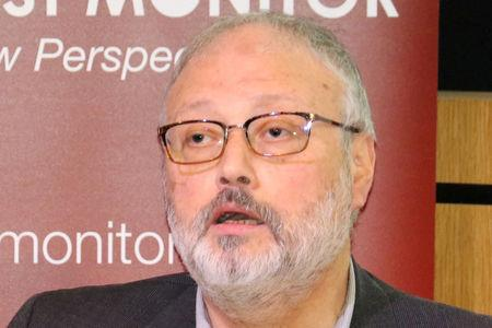 FILE PHOTO: Saudi journalist Jamal Khashoggi speaks at an event hosted by Middle East Monitor in London, Britain, September 29, 2018. Picture taken September 29, 2018. Middle East Monitor/Handout via REUTERS/File Photo