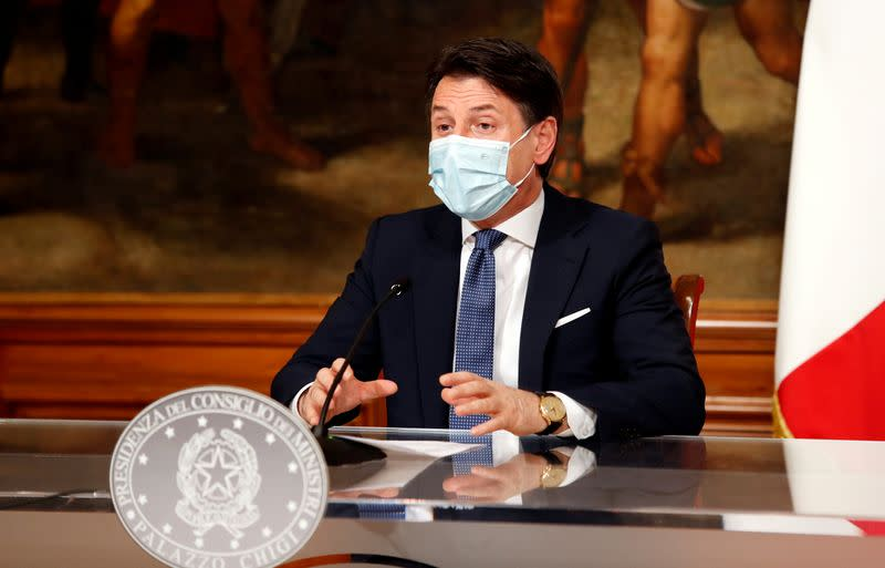 FILE PHOTO: ItalianPrime Minister Giuseppe Conte speaks at a news conference