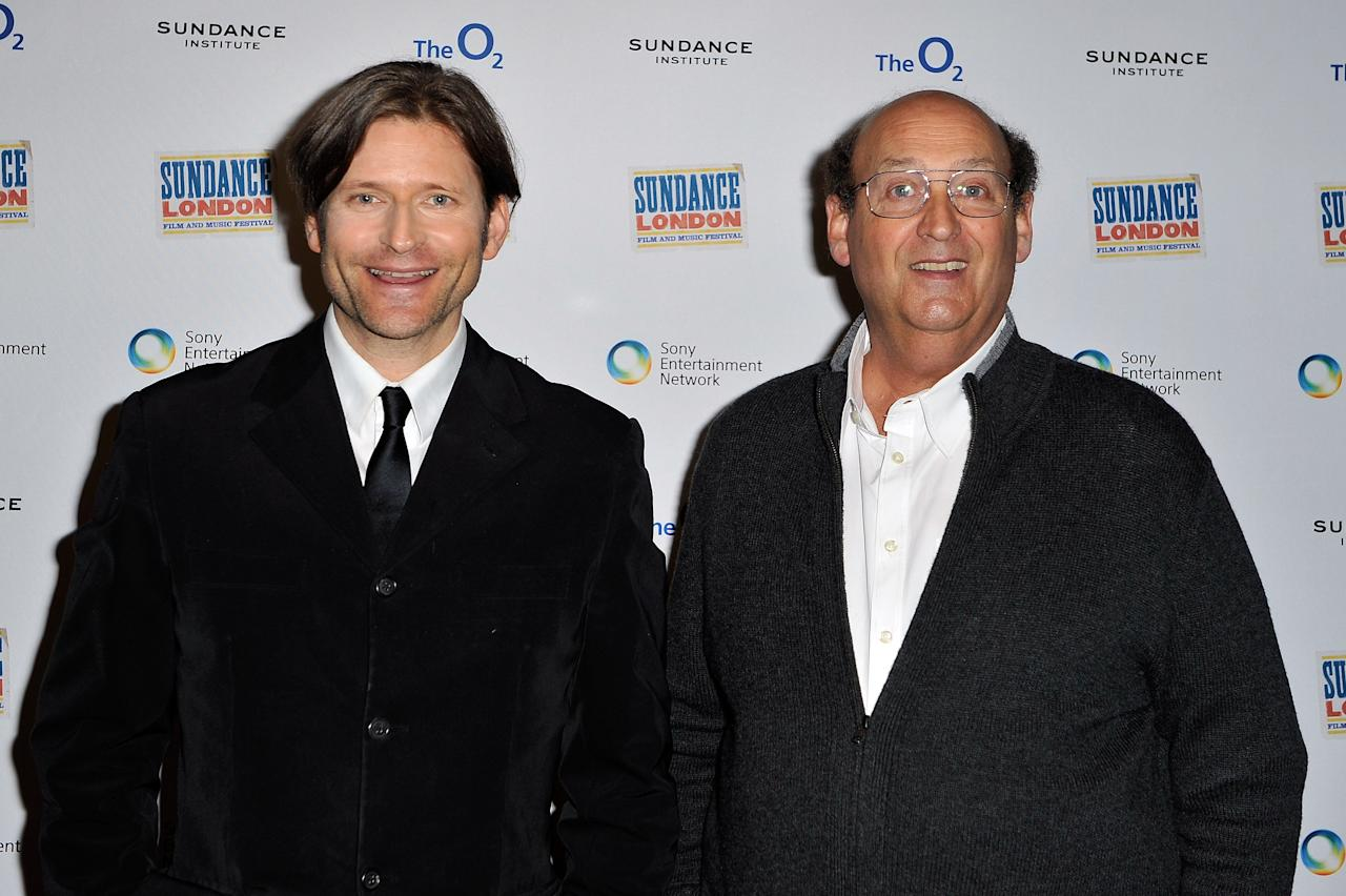 "LONDON, ENGLAND - APRIL 28:  Actor Crispin Glover and director Tim Hunter attends ""River's Edge"" Screening at Cineworld 02 Arena on April 28, 2012 in London, England.  (Photo by Gareth Cattermole/Getty Images for Sundance/AEG Europe)"