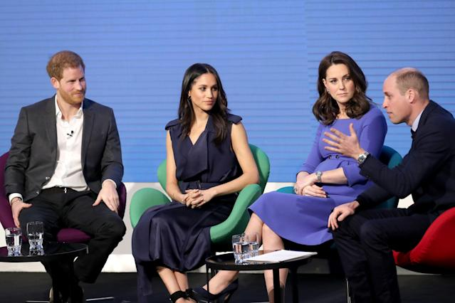 Prince Harry, Meghan Markle and the Duchess and Duke of Cambridge during the first Royal Foundation Forum in 2018. (PA Images)