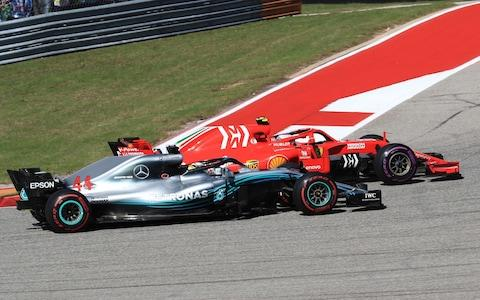 Formula One Grand Prix of The United States, race day; Mercedes AMG Petronas Motorsport, Lewis Hamilton is overtaken in the 1st corner by Scuderia Ferrari, Kimi Raikkonen  - Credit: Octane/Action Plus via Getty Images