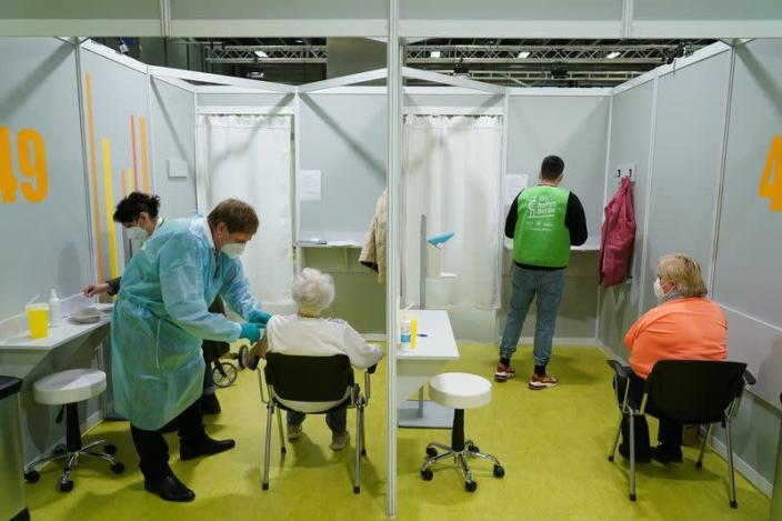 Opening day of COVID-19 vaccination center at Messe Berlin trade fair grounds, in Berlin