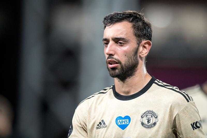 LONDON, ENGLAND - JULY 16: Bruno Fernandes of Manchester United looks on during the Premier League match between Crystal Palace and Manchester United at Selhurst Park on July 16, 2020 in London, United Kingdom. Football Stadiums around Europe remain empty due to the Coronavirus Pandemic as Government social distancing laws prohibit fans inside venues resulting in all fixtures being played behind closed doors. (Photo by Sebastian Frej/MB Media/Getty Images )