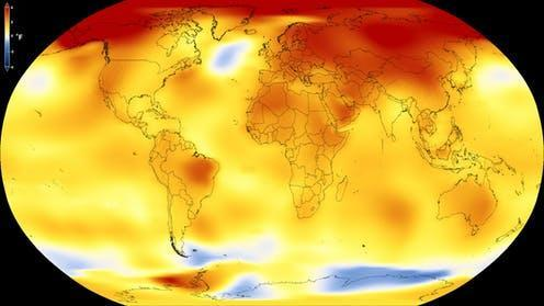 """<span class=""""caption"""">Average global temperature from 2013 to 2017, as compared to 1951–1980 baseline.</span> <span class=""""attribution""""><a class=""""link rapid-noclick-resp"""" href=""""https://climate.nasa.gov/news/2671/long-term-warming-trend-continued-in-2017-nasa-noaa/"""" rel=""""nofollow noopener"""" target=""""_blank"""" data-ylk=""""slk:NASA's Scientific Visualization Studio"""">NASA's Scientific Visualization Studio</a></span>"""