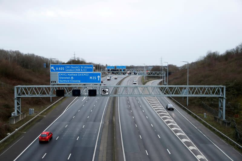 FILE PHOTO: Morning rush hour on M25 motorway in Hertfordshire