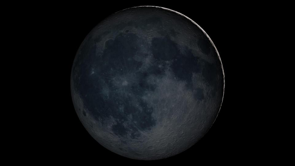 """This illustration (made using real images and data) shows the moon in shadow during the """"new moon"""" lunar phase."""
