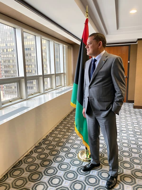 Libya's unity government Prime Minister Abdulhamid Dbeibah looks on at Libya's mission to the United Nations in New York