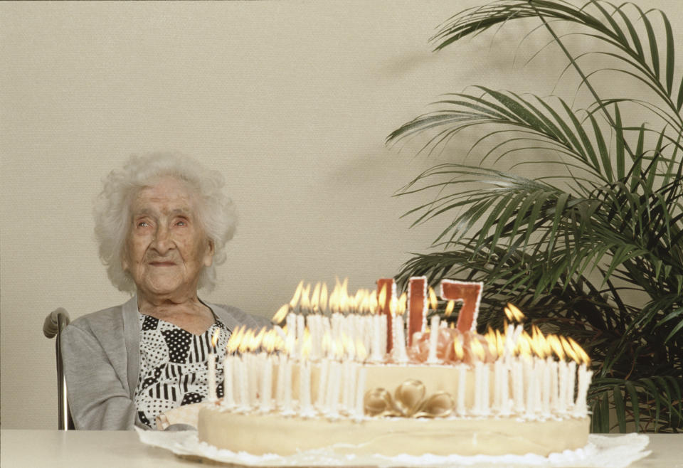 World's oldest person Jeanne Calment celebrates her 117th birthday. (Photo by Jean-Pierre Fizet/Sygma/Sygma via Getty Images)