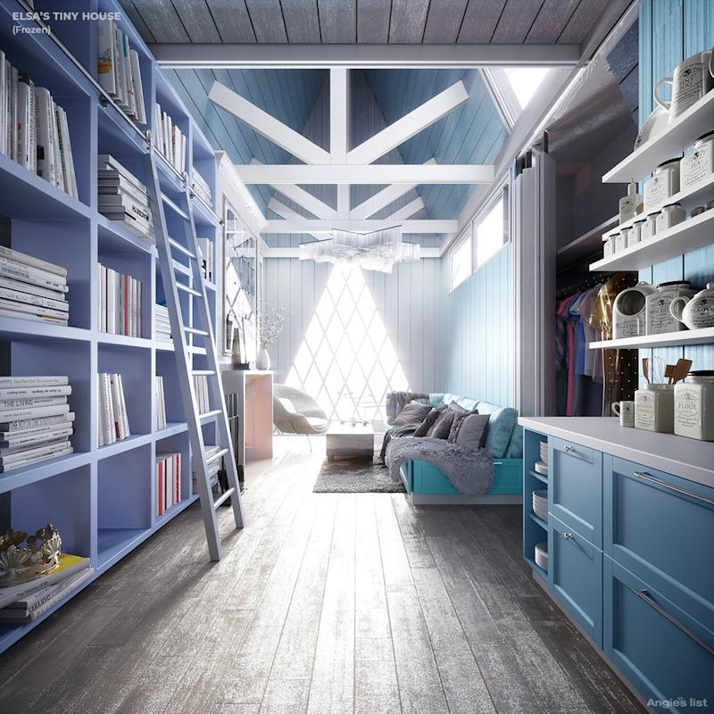 THe inside of Princess Elsa's tiny home is pretty much all painted a wintry shade of blue.