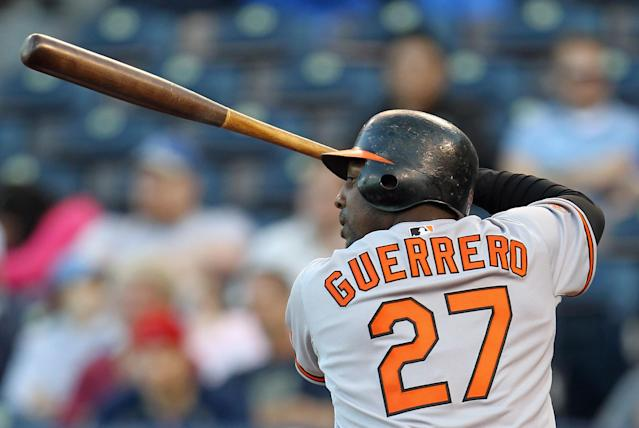Vladimir Guerrero bats during the game against the Kansas City Royals on May 3, 2011 at Kauffman Stadium in Kansas City, Missouri. (Photo by Jamie Squire/Getty Images)