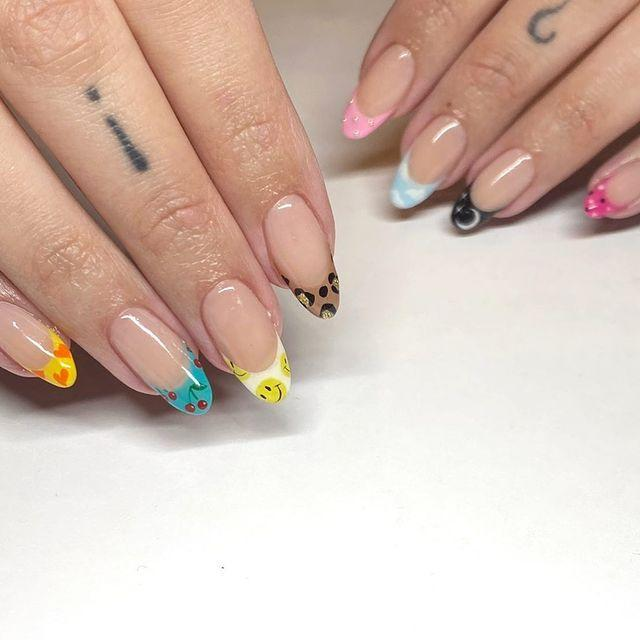 "<p>For an edgy spin on a French manicure, try making the tips the star of the show. With each tip a different fun design, these nails are the perfect balance of bold and classic. </p><p><a class=""link rapid-noclick-resp"" href=""https://www.amazon.com/Alice-Tiggs-Sheets-Nail-Stickers/dp/B08HDQ6M3D/ref=sr_1_13?tag=syn-yahoo-20&ascsubtag=%5Bartid%7C10055.g.3186%5Bsrc%7Cyahoo-us"" rel=""nofollow noopener"" target=""_blank"" data-ylk=""slk:SHOP ASSORTED NAIL STICKERS"">SHOP ASSORTED NAIL STICKERS</a></p><p><a href=""https://www.instagram.com/p/CJ4xlRwF4Nn/&hidecaption=true"" rel=""nofollow noopener"" target=""_blank"" data-ylk=""slk:See the original post on Instagram"" class=""link rapid-noclick-resp"">See the original post on Instagram</a></p>"