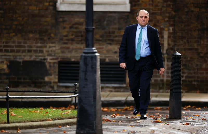 Britain's Defence Secretary Ben Wallace arrives at Downing Street in London