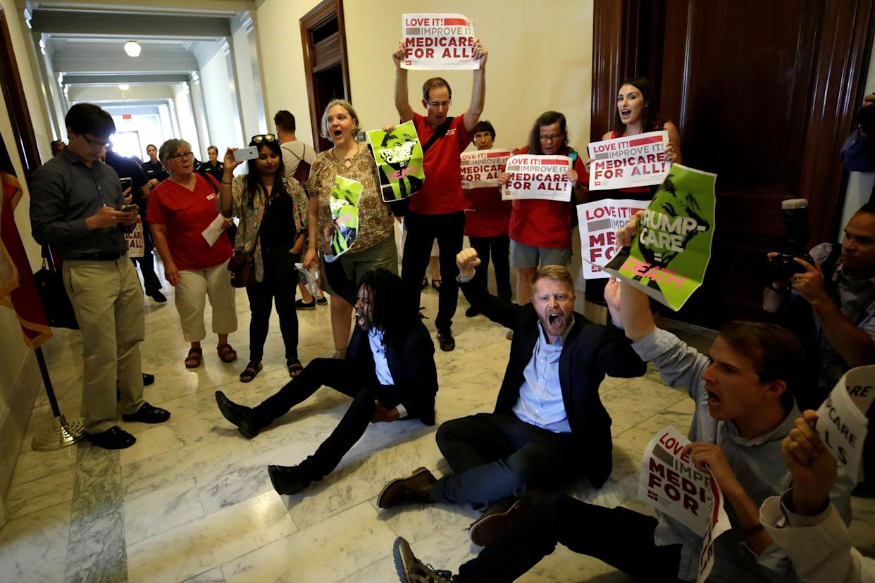 Health care activists protest to stop the Republican health care bill at Russell Senate Office Building on Capitol Hill.