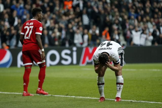 Besiktas' Mustafa Pektemer reacts during the Champions League, round of 16, second leg, soccer match between Besiktas and Bayern Munich at Vodafone Arena stadium in Istanbul, Wednesday, March 14, 2018. (AP Photo/Lefteris Pitarakis)