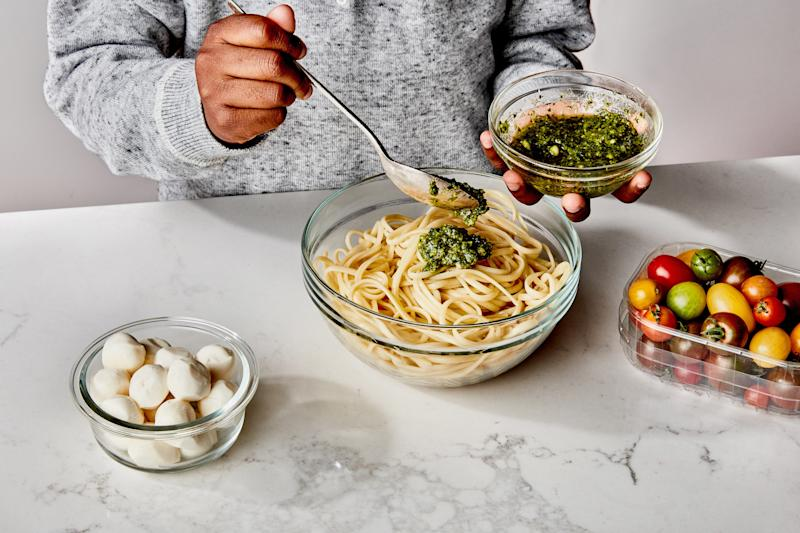 Pesto lovers can toss the noodle shape of their choice with pesto, mozzarella balls, and cherry tomatoes.
