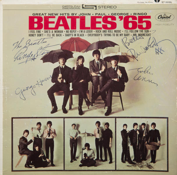"""This undated photo provided by Julien's Auctions shows a """"Beatles '65"""" album signed by all four members of the band. It could bring up to $300,000 on May 17, 2014 during a rock memorabilia sale by Julien's Auctions at the Hard Rock Cafe in New York. (AP Photo/Julien's Auctions)"""