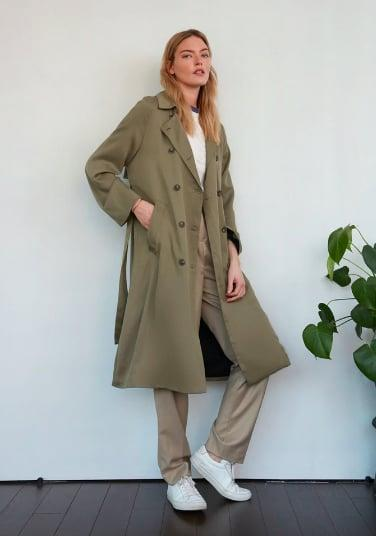 <p>A subtle green looks especially sharp with a white sneaker.</p> <p><span>Atwood Double Breasted Trench Coat</span> ($198, originally $248)</p>