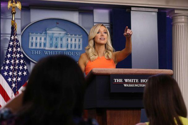 PHOTO: White House Press Secretary Kayleigh McEnany calls on reporters during a news conference in the Brady Press Briefing room at the White House June 29, 2020 in Washington, DC. (Chip Somodevilla/Getty Images)