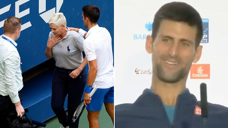 Pictured right, an old interview of Novak Djokovic's that surfaced after his 2020 US Open exit.