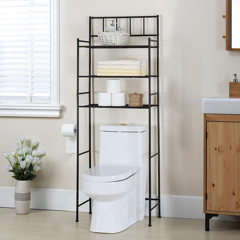 """<p>Instantly add storage to your bathroom with this clever <span>Finnhomy 3 Shelf Bathroom Space Saver Over the Toilet Rack</span> ($43). It makes use of a location not many people think about or consider. It's perfect for storing extra toilet paper, towels, pads, tampons, paper towels, candles, and so much more. It comes in the """"like new"""" condition. </p>"""