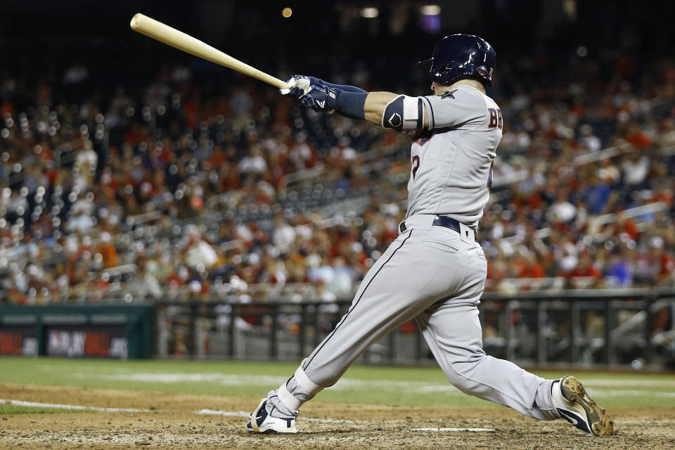 Houston Astros slugger Alex Bregman gives the American League the lead with a solo home run in the MLB All-Star Game. (AP)
