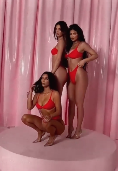 Kim Kardashian, Kylie Jenner and Kendall Jenner in red Skims