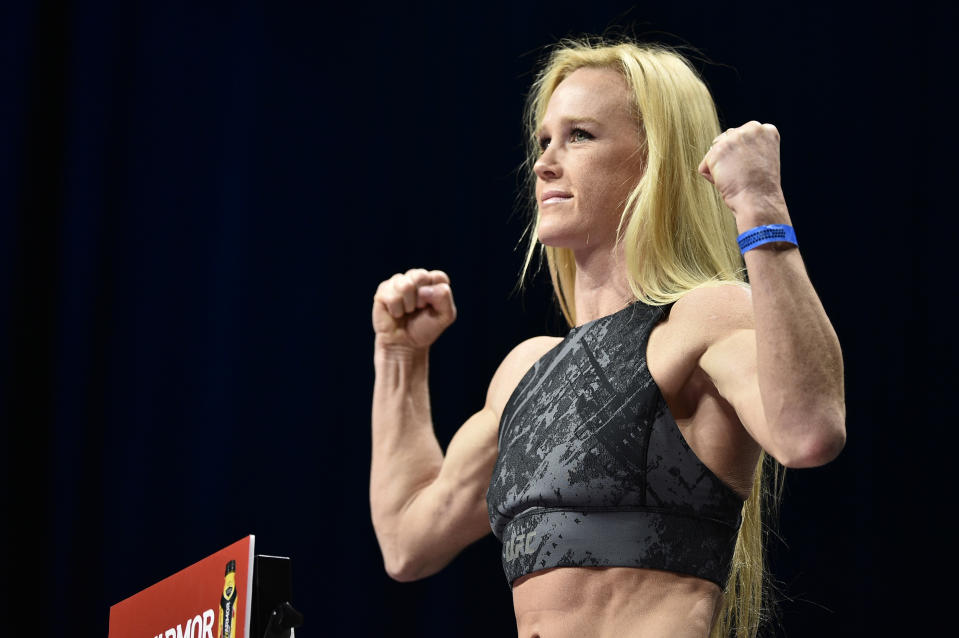 LAS VEGAS, NEVADA - JANUARY 17: Holly Holm poses on the scale during the UFC 246 weigh-in at Park Theater at Park MGM on January 17, 2020 in Las Vegas, Nevada. (Photo by Chris Unger/Zuffa LLC)