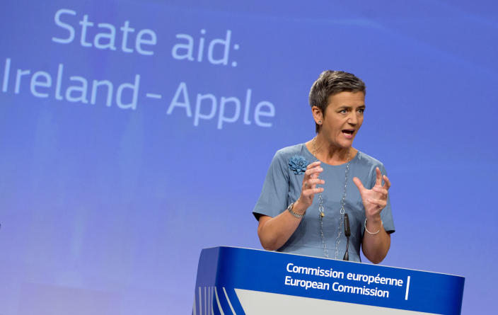 FILE - In this Tuesday, Aug. 30, 2016 file photo, European Union Competition Commissioner Margrethe Vestager speaks during a media conference at EU headquarters in Brussels. A European Union high court on Wednesday, July 15, 2020 ruled in favor of technology giant Apple and Ireland in its dispute with the EU over 13 billion euros, 15 billion US dollars in back taxes. (AP Photo/Virginia Mayo, File)