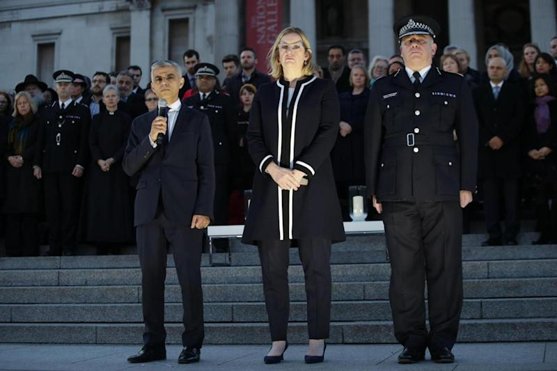 Tribute: Mayor of London Sadiq Khan, Home Secretary Amber Rudd and Metropolitan Police Deputy Commissioner Craig Mackey (PA)