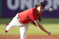 Cleveland Indians starting pitcher Cal Quantrill delivers in the first inning of a baseball game against the Baltimore Orioles, Tuesday, June 15, 2021, in Cleveland. (AP Photo/Tony Dejak)