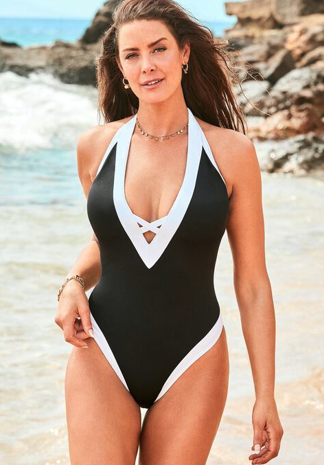 Ashley Graham Plunge Colorblock One Piece. Image via Swimsuits for All.