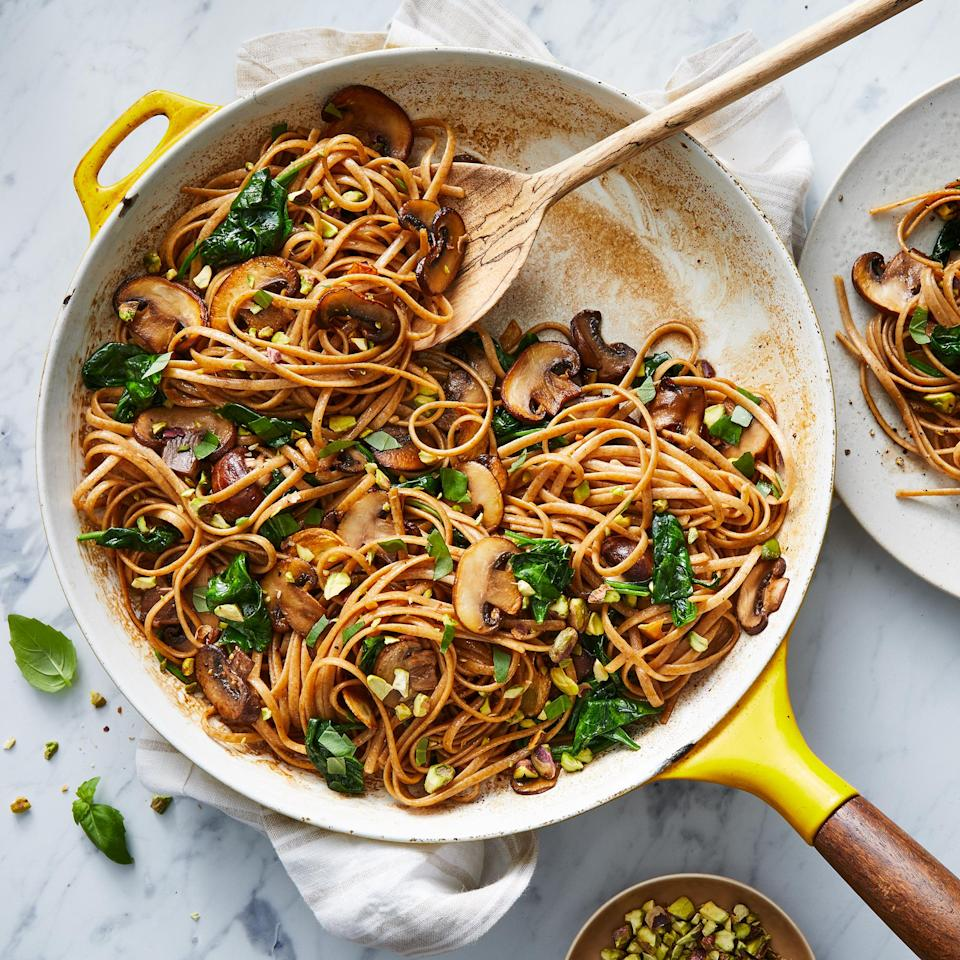 <p>This 20-minute veggie pasta dish is super savory, thanks to meaty mushrooms, while the natural sweetness from the balsamic vinegar, basil and pistachios brighten up this quick, healthy vegetarian dinner.</p>