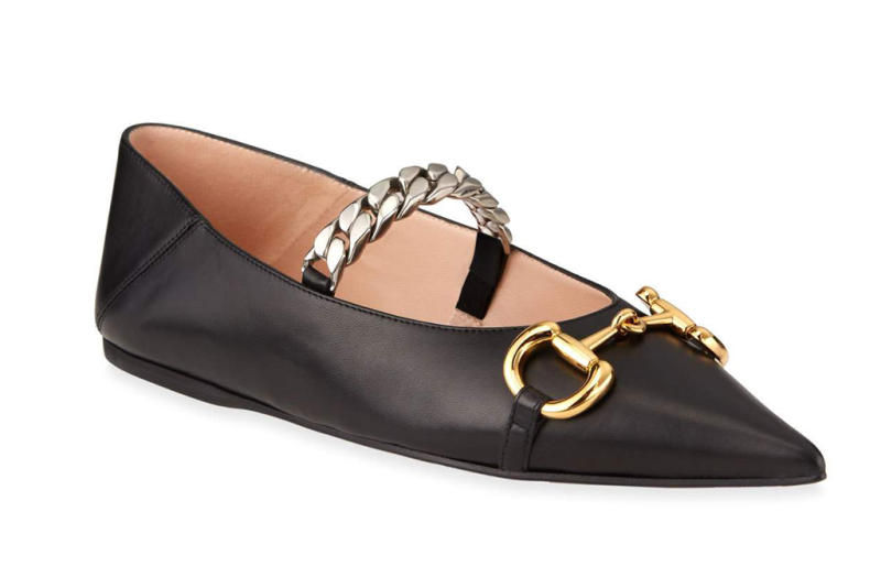 gucci, flats, pointed, black, chain