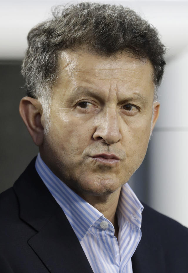In this image taken on Friday, March 23, 2018 Mexico manager Juan Carlos Osorio during an international friendly soccer match against Iceland Friday, March 23, 2018, in Santa Clara, Calif. (AP Photo/Marcio Jose Sanchez)
