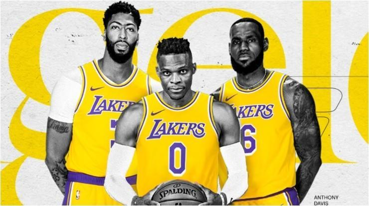 Anthony Davis, Russell Westbrook y LeBron James (Foto: @Lakers)
