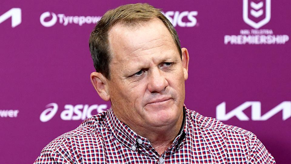 Pictured here, Kevin Walters talks to reporters after Brisbane's loss to the Titans.