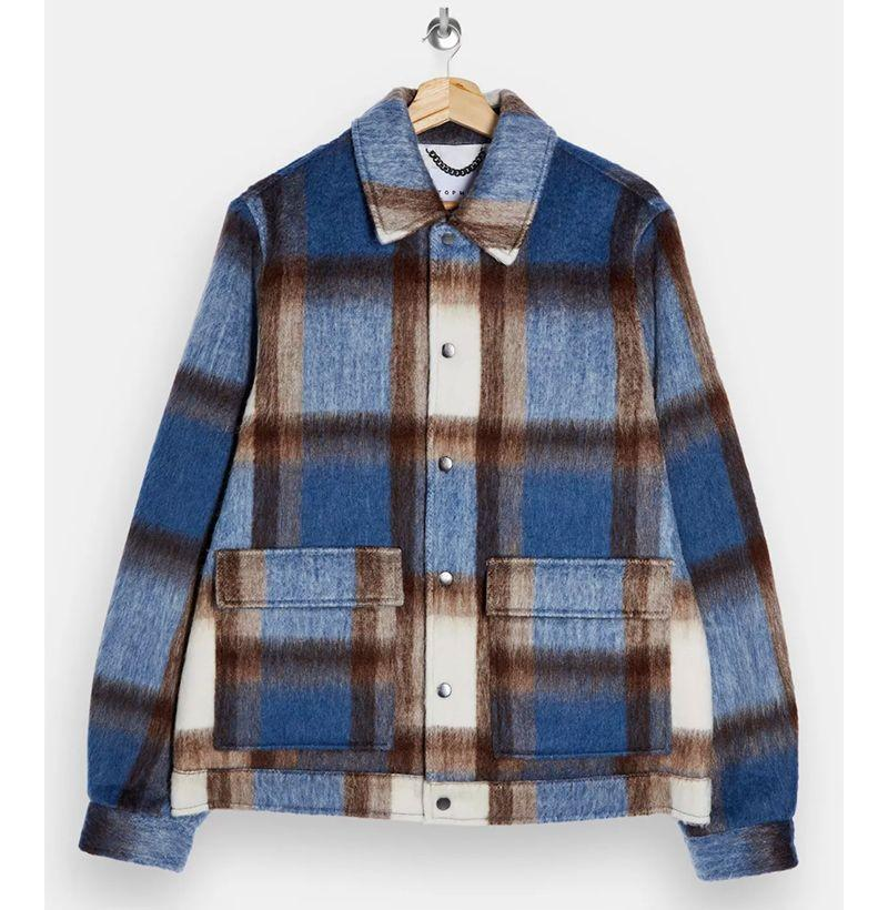 """<p><strong>Topman</strong></p><p>topman.com</p><p><strong>$140.00</strong></p><p><a href=""""https://go.redirectingat.com?id=74968X1596630&url=https%3A%2F%2Fus.topman.com%2Fen%2Ftmus%2Fproduct%2Fclothing-172005%2Fmens-coats-jackets-5652809%2Fblue-check-shacket-10103075&sref=https%3A%2F%2Fwww.esquire.com%2Fstyle%2Fmens-fashion%2Fg22107232%2Fcool-jackets-for-men%2F"""" rel=""""nofollow noopener"""" target=""""_blank"""" data-ylk=""""slk:Buy"""" class=""""link rapid-noclick-resp"""">Buy</a></p><p>So furry you can practically feel it. </p>"""