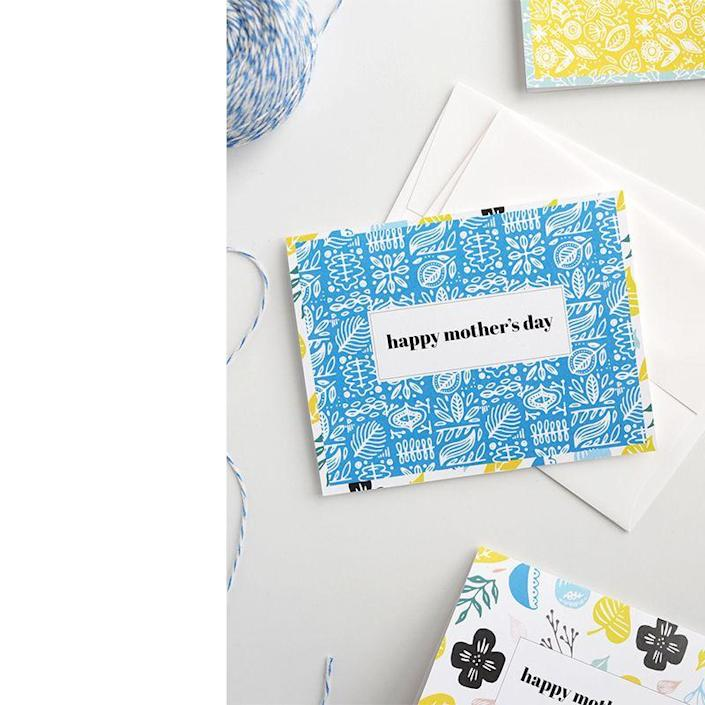 """<p>This brightly patterned card is sure to stand out among the many your mom will receive this Mother's Day. And there are several more color and design options at the link.</p><p><em><strong>Get the printable from <a href=""""https://www.aliceandlois.com/printable-mothers-day-cards/"""" rel=""""nofollow noopener"""" target=""""_blank"""" data-ylk=""""slk:Alice and Lois."""" class=""""link rapid-noclick-resp"""">Alice and Lois.</a></strong></em></p>"""