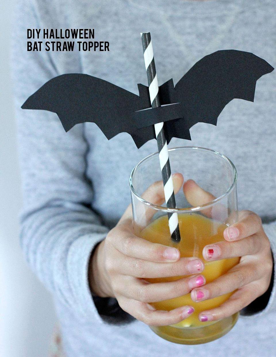 "<p>After all, the presentation is half of the fun. These batty toppers will turn any drink into a spooky treat. </p><p><em><a href=""https://www.aliceandlois.com/diy-halloween-bat-straw-toppers/"" rel=""nofollow noopener"" target=""_blank"" data-ylk=""slk:Get the tutorial from Alice and Lois »"" class=""link rapid-noclick-resp"">Get the tutorial from Alice and Lois »</a></em></p>"
