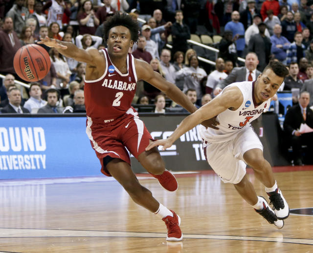 Alabama point guard Collin Sexton helped his draft stock with a series of stellar performances in March. (AP)