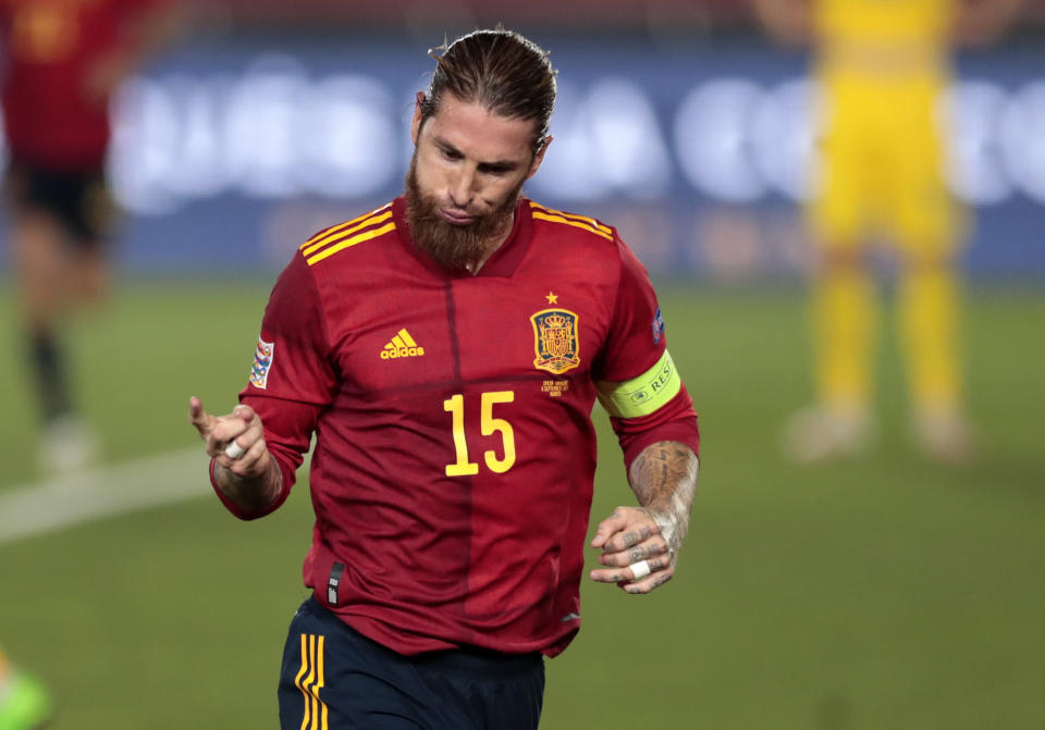 Spain's Sergio Ramos celebrates after scoring his team's second goal during the UEFA Nations League soccer match between Spain and Ukraine at the Estadio Alfredo Di Stefano stadium in Madrid, Spain, Sunday, Sept. 6, 2020. (AP Photo/Bernat Armangue)