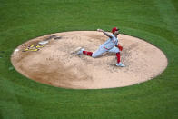 Cincinnati Reds starting pitcher Vladimir Gutierrez delivers during the fourth inning of the team's baseball game against the Pittsburgh Pirates in Pittsburgh, Wednesday, Sept. 15, 2021. (AP Photo/Gene J. Puskar)