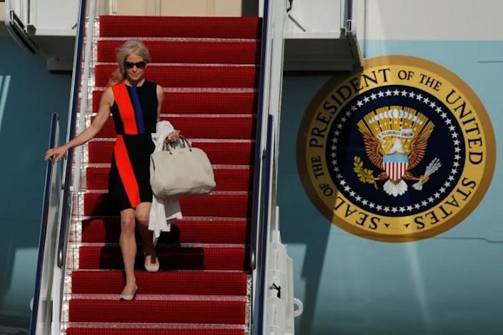 White House advisor Kellyanne Conway deplanes as she arrives with U.S. President Donald Trump aboard Air Force One at Joint Base Andrews, Maryland, U.S. April 28, 2017. REUTERS/Jonathan Ernst