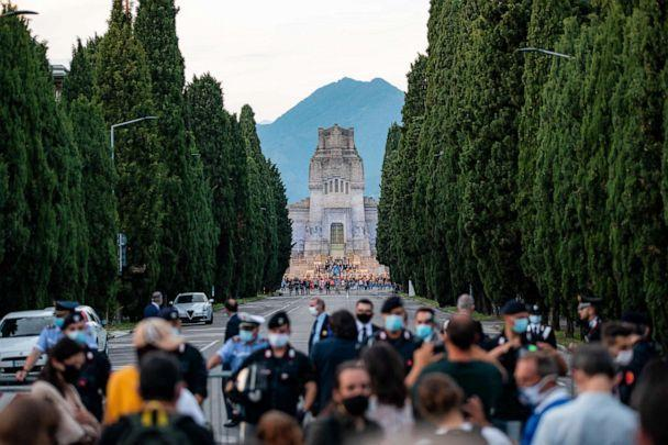 PHOTO: A view of the Monumental Cemetery of Bergamo during requiem in memory of the coronavirus victims in the presence of the President of Italian Republic, Sergio Mattarella, and 243 mayors on June 28, 2020, in Bergamo, Italy. (NurPhoto via Getty Images)