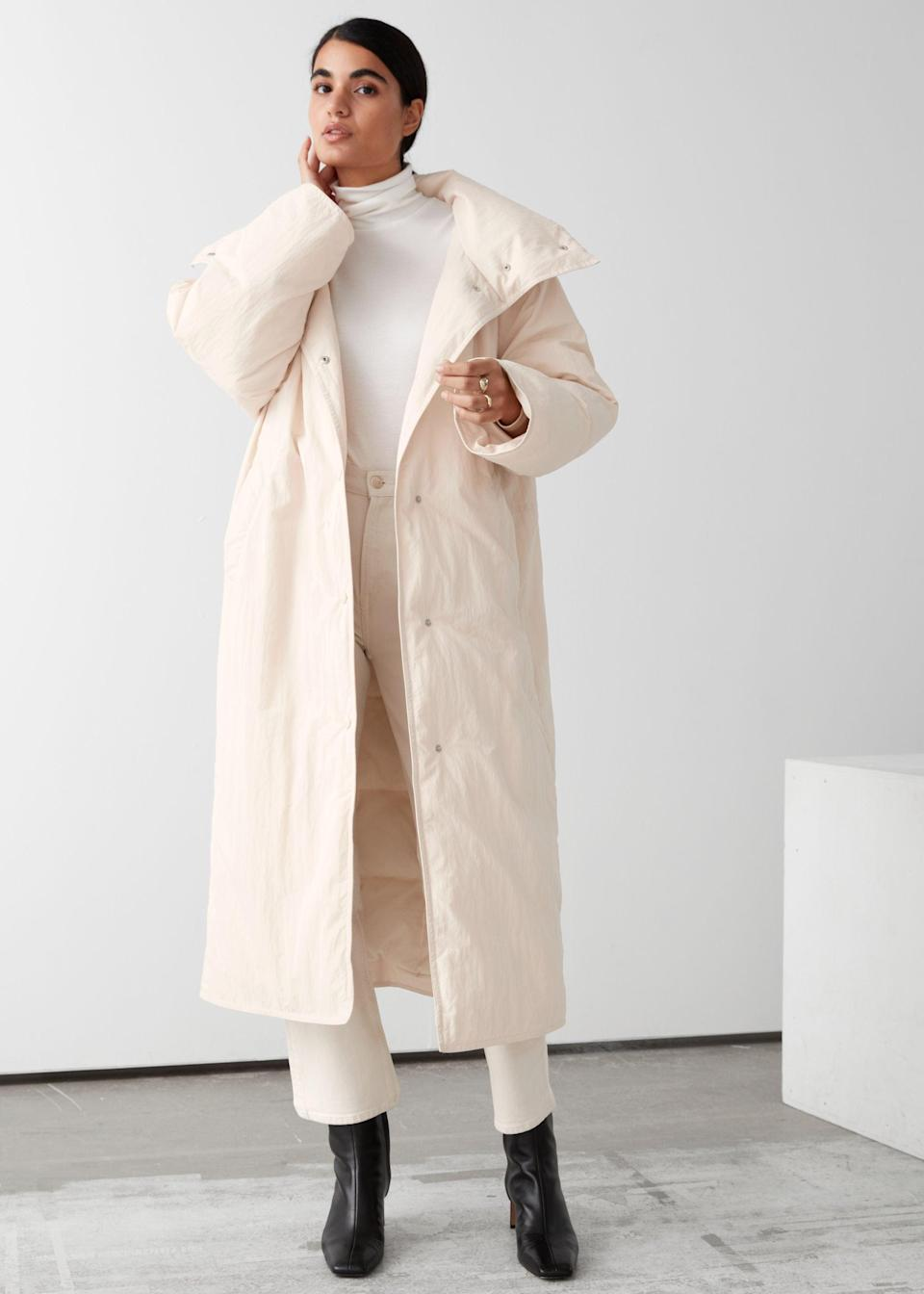 "<br><br><strong>& Other Stories</strong> Oversized Boxy Long Puffer Jacket, $, available at <a href=""https://go.skimresources.com/?id=30283X879131&url=https%3A%2F%2Fwww.stories.com%2Fen_usd%2Fclothing%2Fjackets-coats%2Fjackets%2Fproduct.oversized-boxy-long-puffer-jacket-beige.0891895003.html"" rel=""nofollow noopener"" target=""_blank"" data-ylk=""slk:& Other Stories"" class=""link rapid-noclick-resp"">& Other Stories</a>"