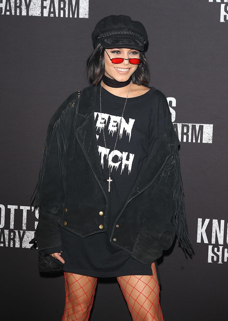 Vanessa Hudgens arrives at Knott's Scary Farm and Instagram's Celebrity Night held at Knott's Berry Farm on September 29, 2017 in Buena Park, California. Photo courtesy of Getty Images.
