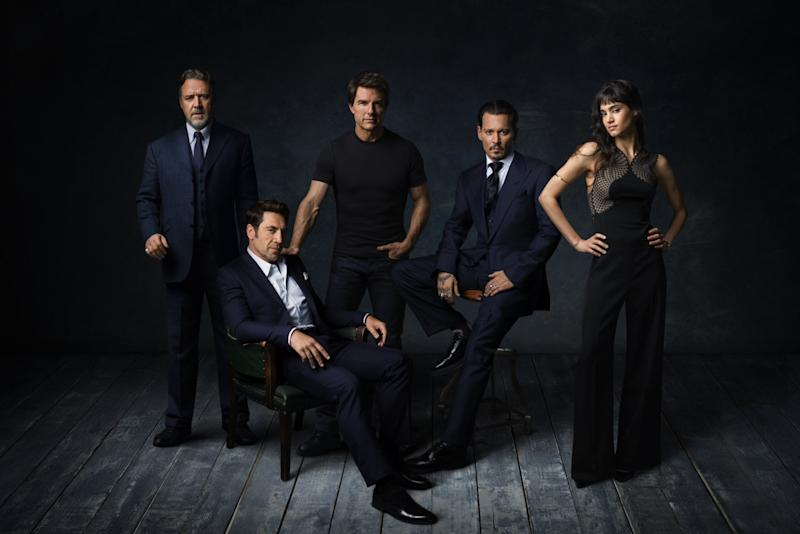 Russell Crowe, Javier Bardem, Tom Cruise, Johnny Depp and Sofia Boutella as the 'Dark Universe' (Credit: Universal)